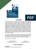 Conclusiones 18 Congreso Nacional de Profesionales en Ciencias Económicas