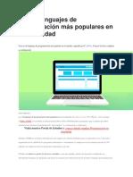 Los 10 Lenguajes de Programación Más Populares en La Actualidad