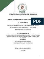 Análisis de Lento Aprendizaje de Lengua y Literatura en Los Estudiantes de La Escuela Fiscal Mixta Veinticinco de Agosto