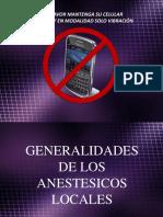Clase Generalidades de Anestesicos Locales