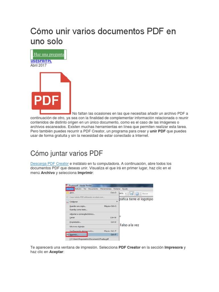 Cómo Unir Varios Documentos PDF en Uno Solo | Formato de