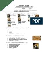 Prueba de Historia 6º Basico