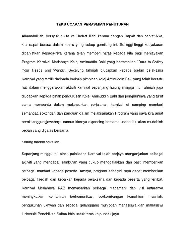 Teks Ucapan Perasmian Penutupan Majlis