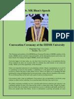 Dr MK Bhan Speech at Convocation Ceremony 2017 - IIHMR University