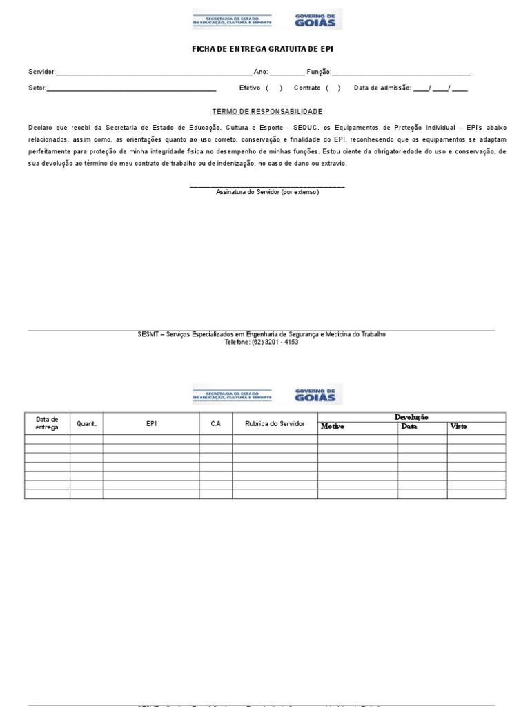 7c12ae66e46f0 Ficha de Entrega - Epi
