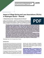 Impact of Village Saving and Loan Associations (VSLAs) in Rubengera Sector – Rwanda