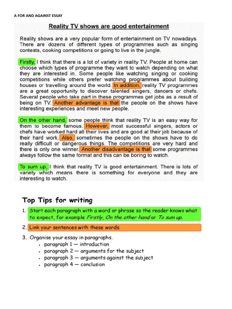 advantages of reality programmes in essay