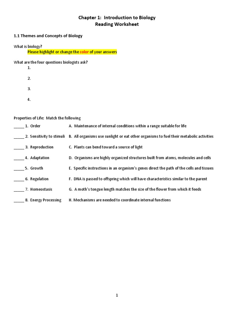 chapter 1 worksheet openstax Organisms – Introduction to Biology Worksheet