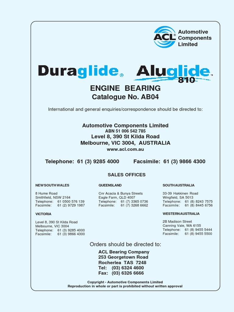5M2747A-STD Standard Size Main Bearing Set for Nissan ACL