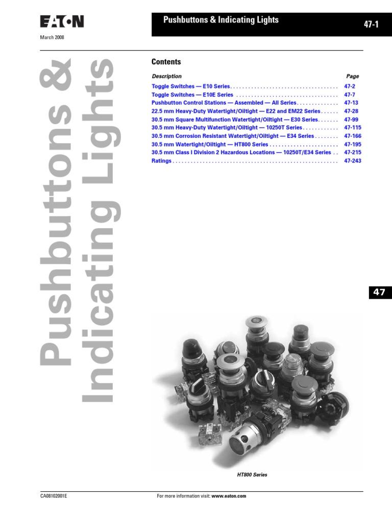 SPDT-1NO//1NC Contacts Screw Terminals 30.5mm Diameter Eaton 10250T1 Switch Contact Block