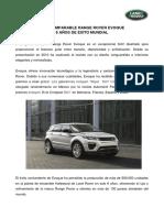 Boletín de Prensa - Range Rover Evoque 6 Años de Éxito