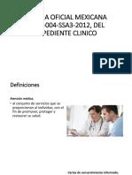 Norma Oficial Mexicana Nom-004-Ssa3-2012, Del Expediente Clinico
