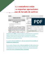 Abogados y Contadores Están Obligados a Reportar Operaciones Sospechosas de Lavado de Activos