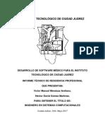 Informe de Residencia Profesional Desarrollo de Software Medico Para El Instituto Tecnológico De Ciudad Juárez