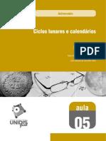UNIDIS 05 - ASTRONOMIA - CICLOS LUNARES E CALENDÁRIOS - AULA 05.pdf