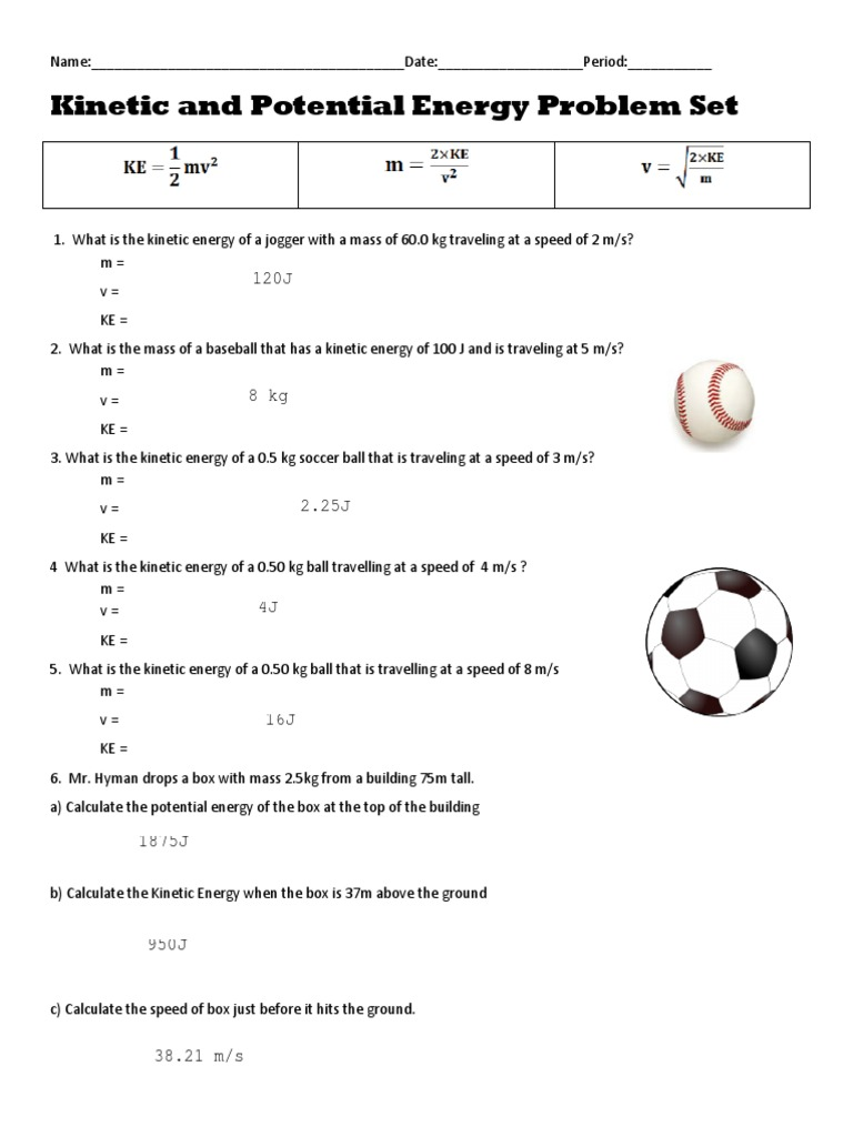 kinetic and potential energy worksheet answers – streamclean.info
