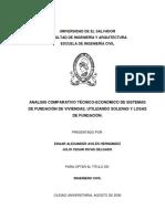 Analisis Comparativo Técnico Económico de Sistemas de Fundación de Viviendas Utilizando Soleras y Losas de Fundación