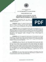Proclamation No. 216