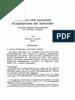 Studien Zu Zwei Anonymen Kompilationen Der Spatantike ANONYMI CONTRA PHILOSOPHOS ET CONTRA JUDAEOS