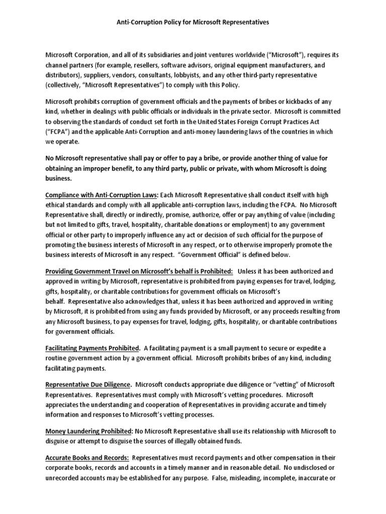 Anti Corruption Policy For Representatives Corruption Bribery