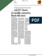 Pacioli 2017. Maestro di contabilità, matematico, filosofo della natura - Il Corriere di Arezzo del 14 giugno 2017