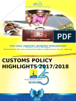 Presentation of customs changes in the FY 2017/18