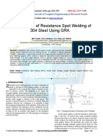 Optimization of Resistance Spot Welding of 304 Steel Using GRA