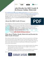 Recommended Books for RBI Grade B Exam With Bonus Online Material