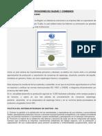 Certificaciones de Calidad y Combenios