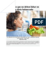 Alimentos Que No Deben Faltar en Una Dieta Balanceada