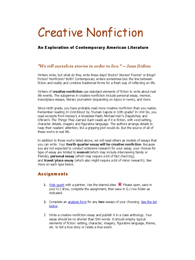 submit creative nonfiction essay Current subscribers pay no reading fees for magazine submissions and are permitted to submit one book per year for creative non-fiction / essay: non.