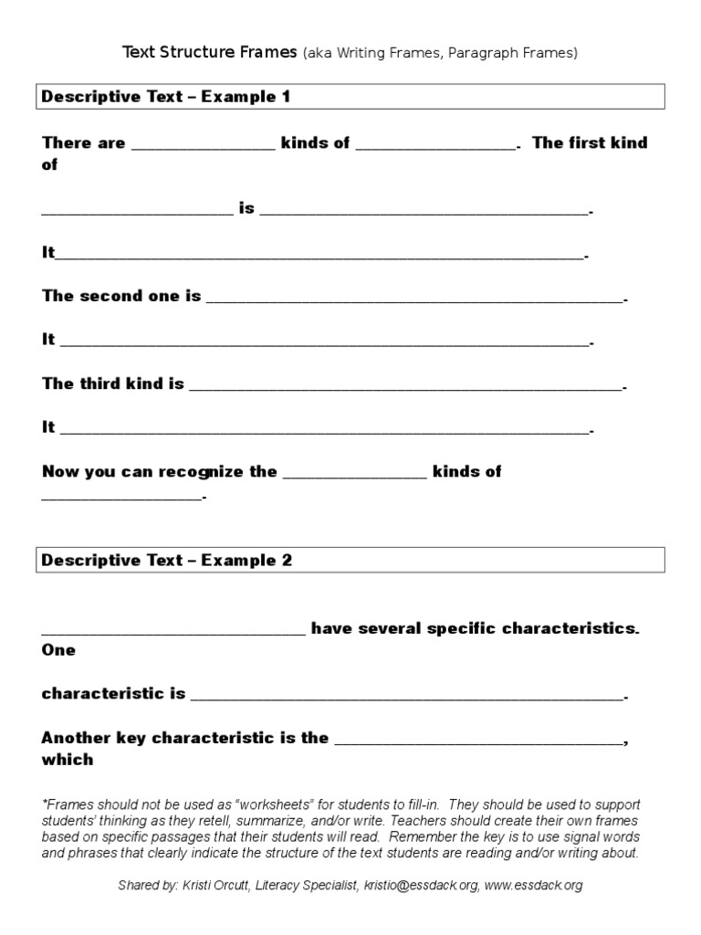 frames for paragraph writing | Learning | Semiotics