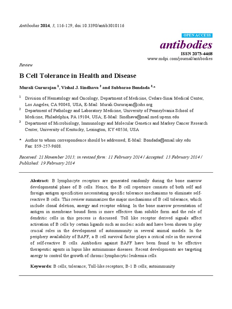 antibodies-03-00116-v2 | B Cell | Immune Tolerance