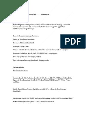 Aws Sample Resume 3 Amazon Web Services Cloud Computing
