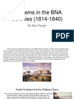 problems in the bna colonies  1814-1840