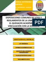 Disposiciones Comunes de Leyes y Reglamentos de La Unah Sobre El Quehacer Académico de Vinculación Con La Sociedad