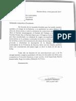 Carta de Randazzo a Espinoza exigiendo la inscripción de su alianza