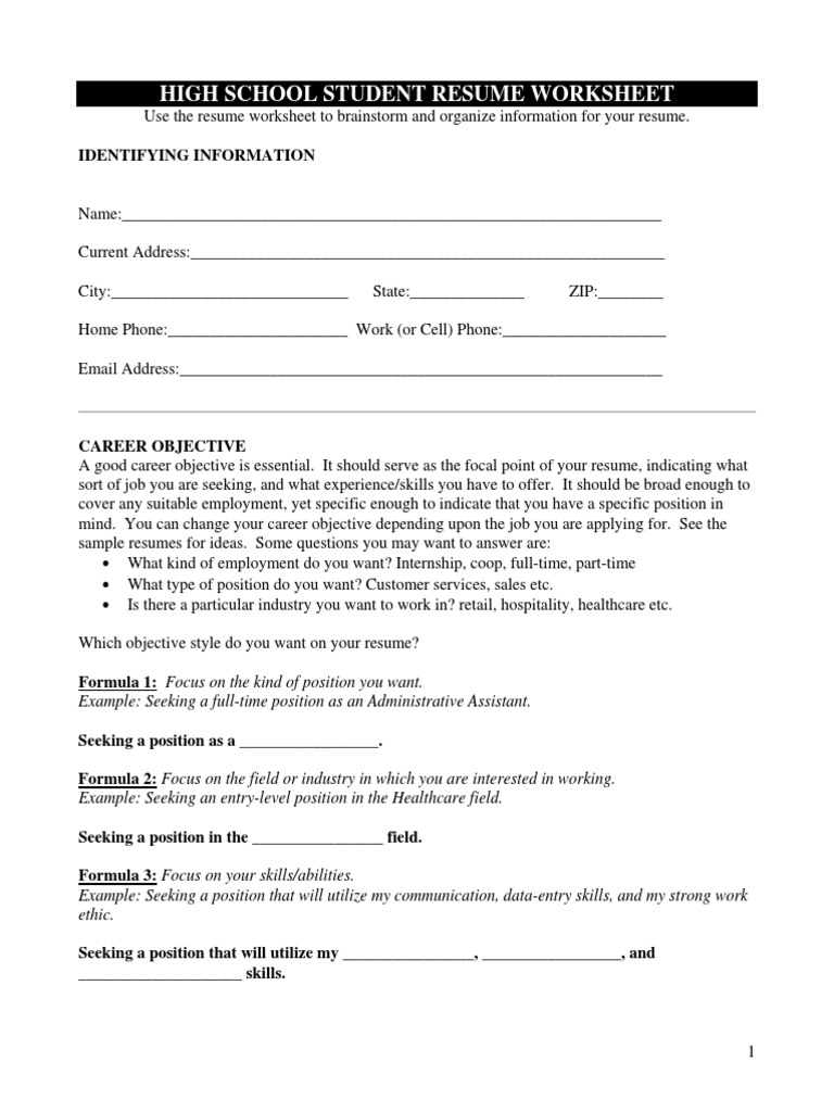 High School Student Resume Worksheet Pdf Resume Secondary School