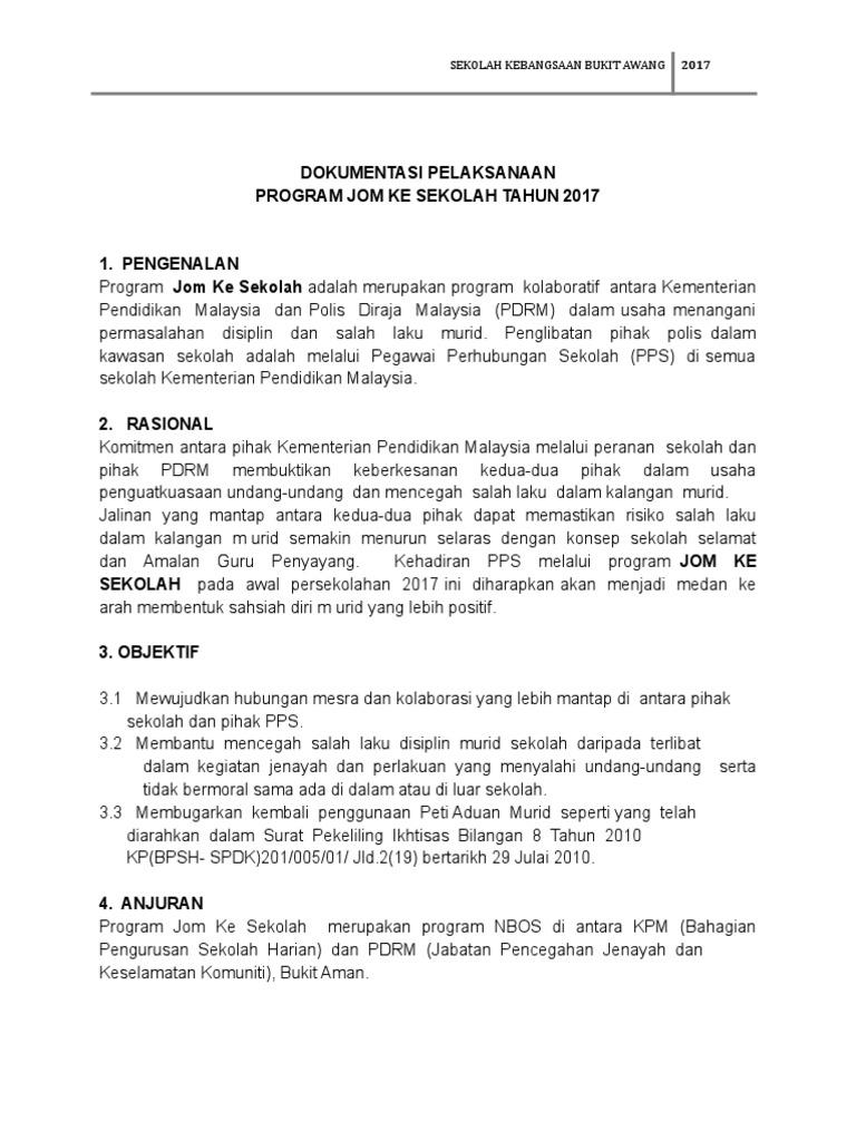 Dokumentasi Pelaksanaan Program Jom Ke Sekolah Tahun 2017 Sekolah Kebangsaan Bukit Awang