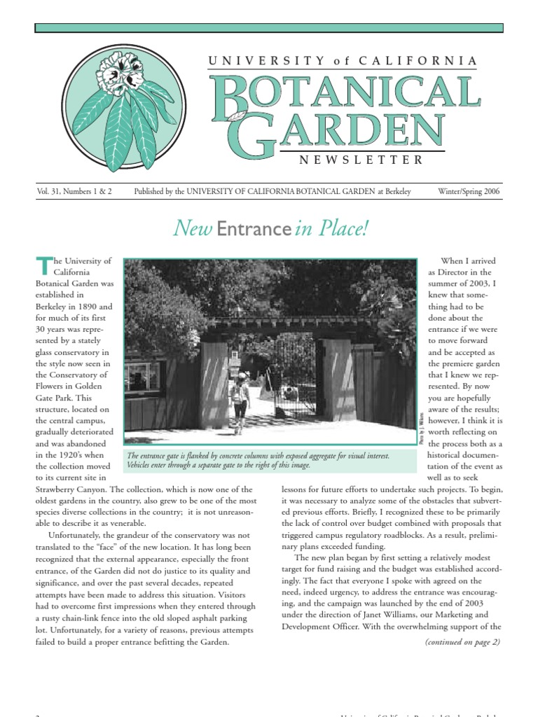 winter spring 2006 botanical garden university of california