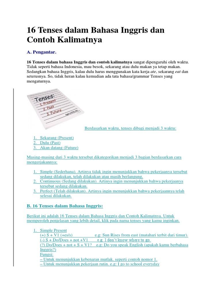 16 Tenses Dalam Bahasa Inggris Dan Contoh Kalimatnya Docx
