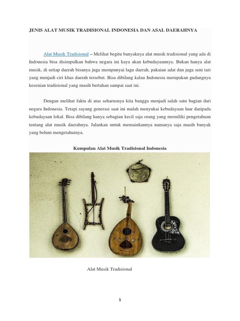 Jenis Alat Musik Tradisional Indonesia Dan Asal Daerahnya