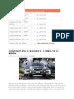 Daftar Harga Chevrolet Spin