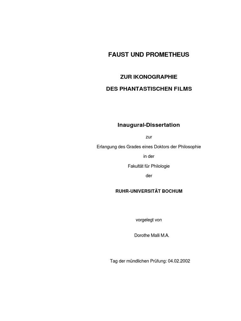 Faust Und Prometheus Zur Ikonographie Des Phantastischen Films