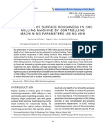 PREDICTION OF SURFACE ROUGHNESS IN CNC MILLING MACHINE BY CONTROLLING MACHINING PARAMETERS USING ANN