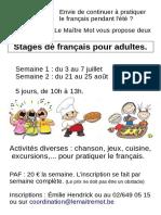 Affiche Été 2017 Stage FLE A4 Le Maitre Mot