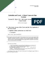 Qaballah and Tarot  Lesson II Part 2 Revision 1 July 30, 2010