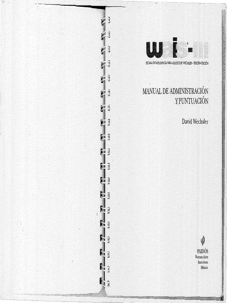 312848215 Wechsler WAIS III Manual de Administracion y