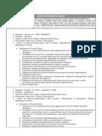 Experience Work Sheet sample