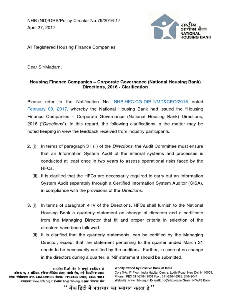 NHB(ND) DRS Policy Circular 79 2016 17 | Audit Committee | Audit